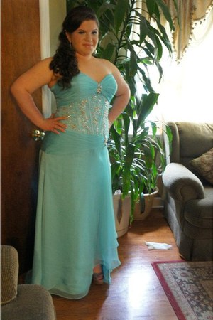 light blue Mori Lee dress