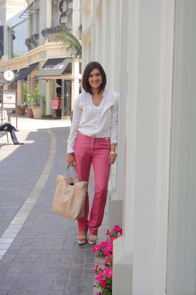 off white Zara blouse - bubble gum Zara pants