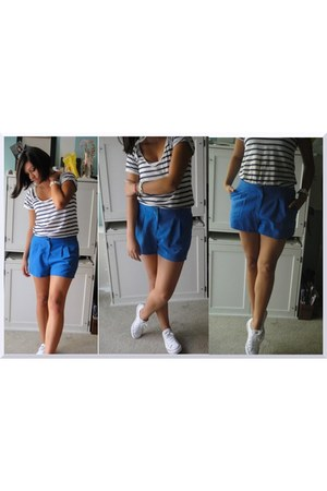blue Forever 21 shorts - navy striped Zara shirt - white Converse sneakers