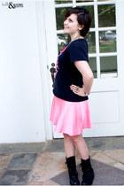 black boots - salmon American Apparel skirt - black band t-shirt t-shirt
