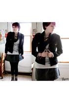 dark brown boots - black vintage DKNY jacket - black Urban Outfitters scarf - gr