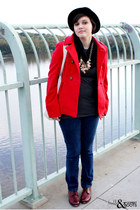 red BB Dakota jacket - brick red Frye shoes - blue Wet Seal jeans