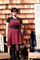 black boots - red Pins & Needles dress - silver Deena & Ozzy bag - dark brown H&