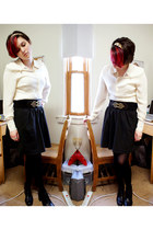 black DKNY tights - black thrifted heels - cream Jones New York blouse - black E