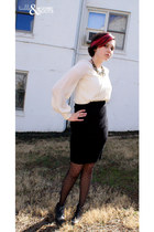 black asos tights - black thrifted heels - black American Apparel skirt - eggshe