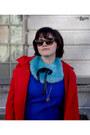 Blue-ann-taylor-dress-black-anthropologie-boots-red-bb-dakota-jacket