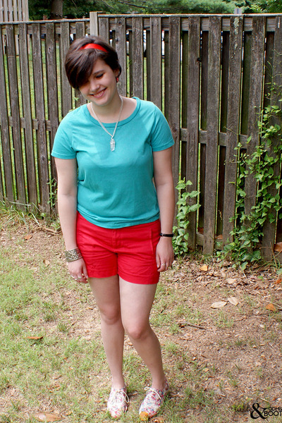 red Cooperative shoes - red Gap shorts - turquoise blue BDG t-shirt - white made