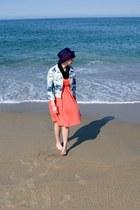 coral delias dress - navy BDG hat - light blue BDG jacket - black Urban Outfitte