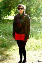 black scarf - red Gap shorts - dark brown H&M sunglasses - gray American Apparel
