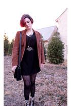 dark brown boots - black made by me dress - brown Urban Renewal blazer - black B