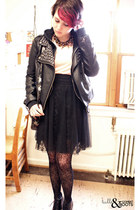 black Forever 21 jacket - black Urban Outfitters tights - light pink Deena & Ozz