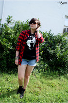 cold cave t-shirt - Miss Me boots - BDG shirt - thrifted diy shorts