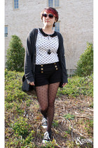 white Forever 21 shirt - black asos tights - black Forever 21 shorts - dark gray
