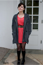 bronze Oasis belt - coral Oasis dress - gray Primark jacket