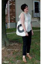 ivory band bag - brown Mia sandals - off white Gap blouse - black talbots pants