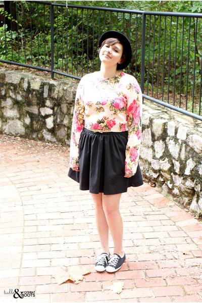 bubble gum asos sweater - black Converse shoes - black vintage hat