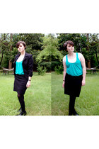 black blazer - black American Apparel skirt - turquoise blue Pins & Needles top