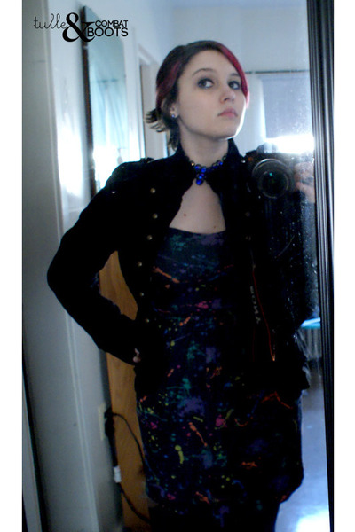 navy paint splatter dress - navy jacket - black record purse - blue vintage chok