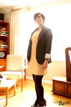 black Nila Anthony bag - beige RARE dress - charcoal gray Silence & Noise blazer