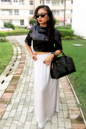 Koovs skirt - Charles & Keith boots - Charles & Keith bag - Koovs top