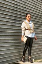 Sheinsidecom leggings - Koovs heels - Closet Diaries cardigan