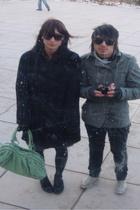 black BB Dakota coat - green deux lux purse - black Urban Outfitters tights - bl