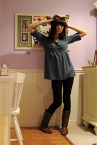 green Urban Outfitters top - black H&M pants - brown Rack room shoes boots