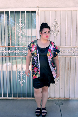 black dress - magenta floral print cardigan