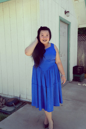 blue dress - charcoal gray heels