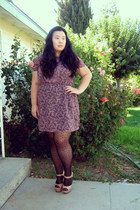 amethyst dress - black polka dot tights - camel pumps