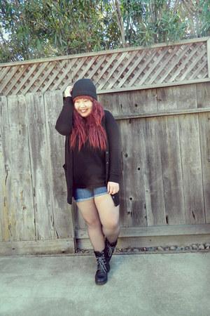 black boots - black hat - black sweater - black shirt - blue shorts
