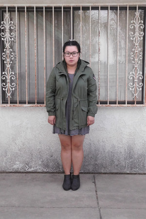 army green coat - dark gray boots - black dress