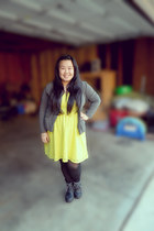 yellow dress - black boots - black tights - heather gray cardigan