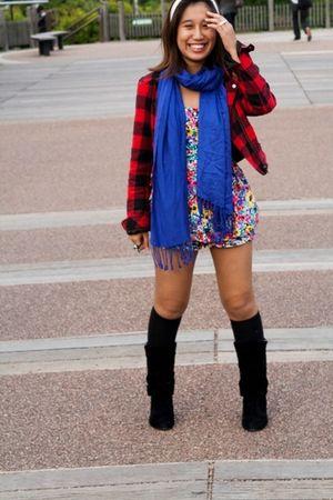 red Forever 21 jacket - blue Forever21 scarf - blue Forever 21 - black boots - w