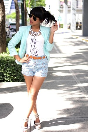 aquamarine H&amp;M blazer - sky blue floral INDIE-GO shorts