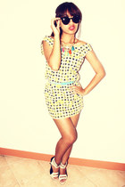yellow printed unknown dress - bubble gum accessories - violet Bershka belt