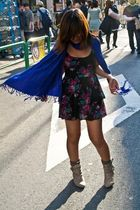 black Forever21 dress - blue Forever21 scarf - silver boots