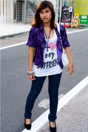 purple blazer - white Forever21 top - blue GU jeans - black shoes