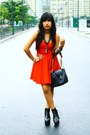 Red-corset-dress-black-bag-black-platform-soul-phenomenon-wedges