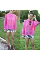 neon pink sheer blouse - shorts - cat-eye brown Juicy Couture sunglasses