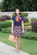 red plaid Padini skirt - navy polo Burberry top