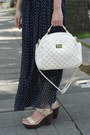 Navy-maxi-femmex-dress-white-quilted-perllini-bag