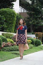 Navy-polo-burberry-top-red-plaid-padini-skirt
