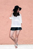black Forever 21 hat - white JCrew sweater - black faux leather shorts