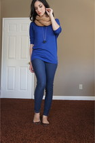 blue H&M leggings - blue dolman american eagle outfitters top