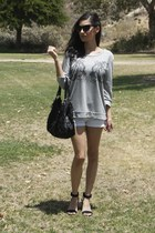 black coach bag - heather gray Forever 21 sweater - white H&M shorts