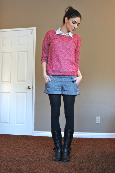 Forever 21 sweater - charcoal gray Forever 21 shorts - white H&M top