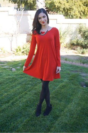 red Express dress - black Target boots - J Crew necklace