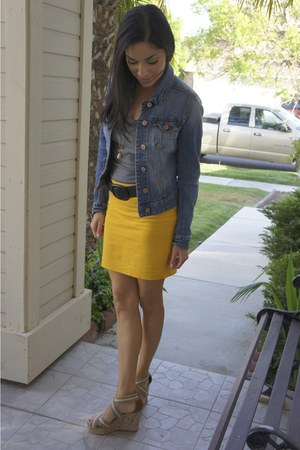 mustard H&M skirt - denim H&M jacket