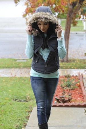 gray Aeropostale vest - black Aldo boots - aquamarine Target sweater